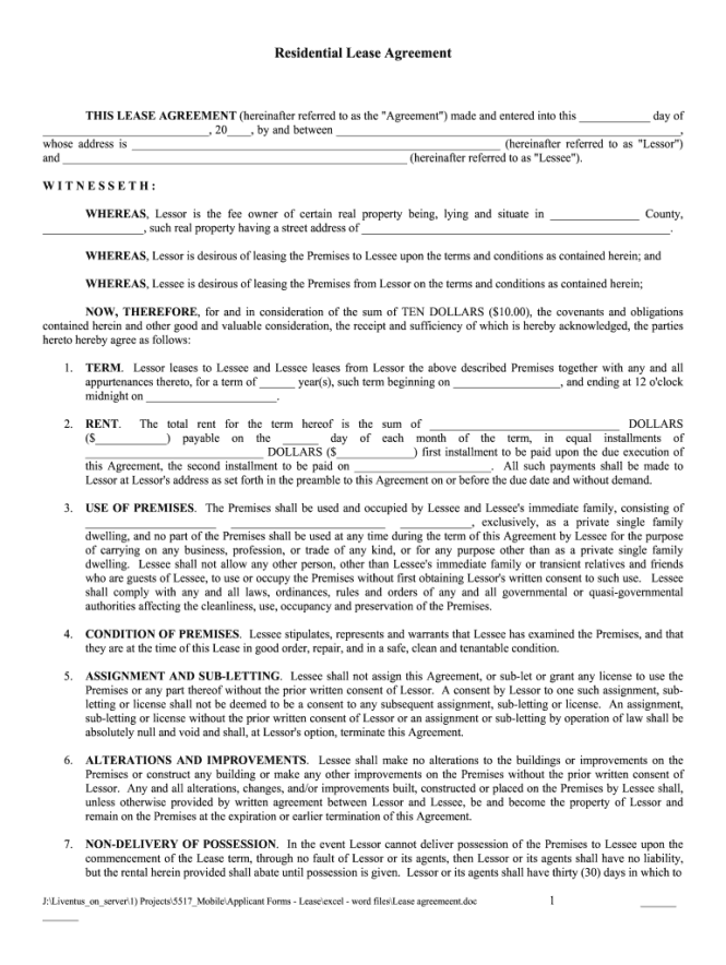 Printable Lease Agreement Fill Out