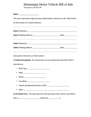 Vehicle Bill Of Sale Fill Out And Sign Printable Pdf