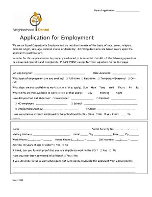 Employment Application Neighborhood Dental Form Fill Out