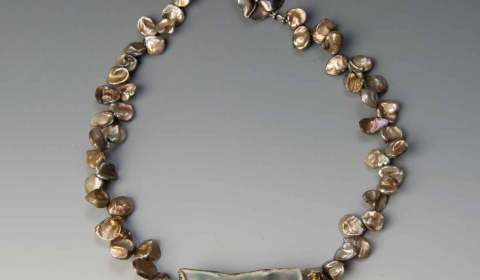 Sholeh Regna Reversible Porcelain Necklace with Fresh Water Pearls