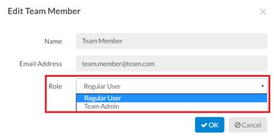 Edit Roles for Team Members