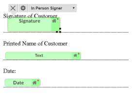 assigning tags to in person signer