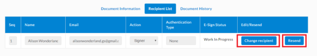 Changing Signer or Resending Invitation from Recipient List