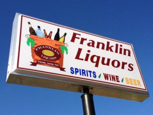 Franklin Liquors pylon sign