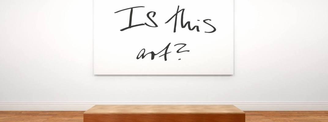 Die Wörter Is this art?, auf einer Leinwand