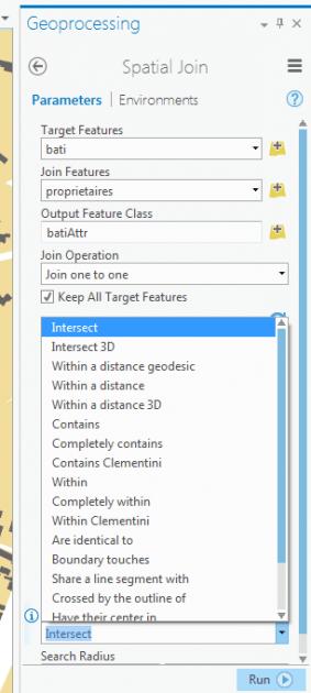 paramètre match option de la fenêtre spatial join