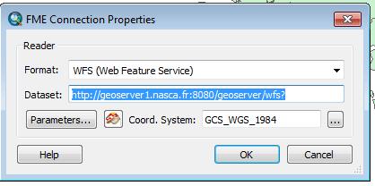 fenêtre de connexion WFS