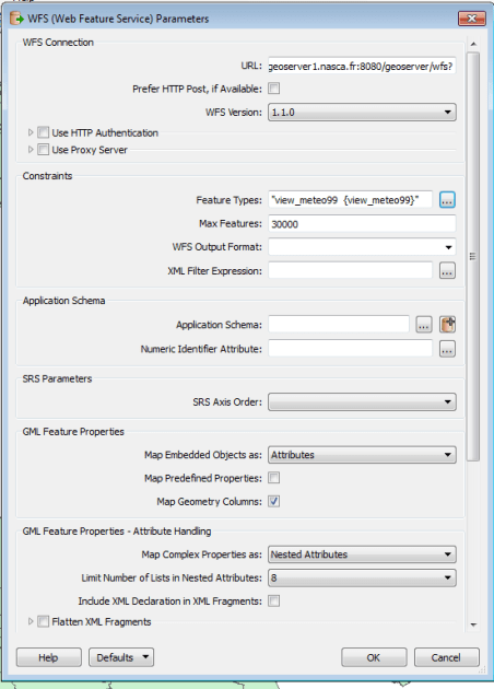paramétrage de la connexion wfs nasca -1