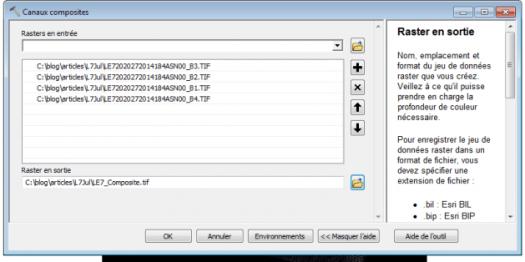 paramètres de la commande canaux composite
