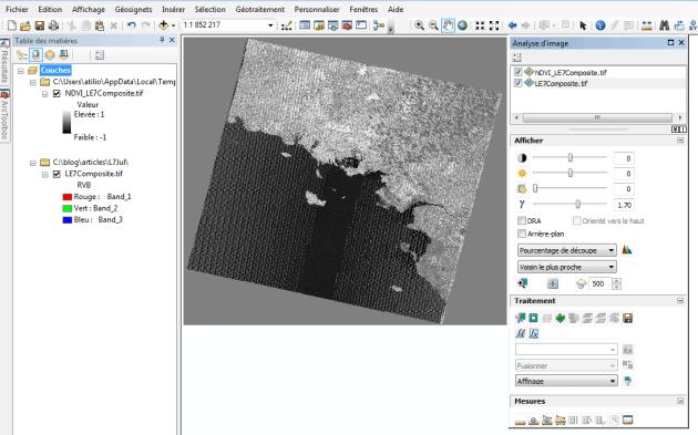 affichage du NDVI avec image analysis