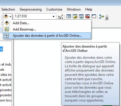 ajouter des données arcgis online dans arcmap