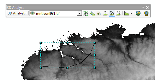 Tracé du trajet pour le profil topographique