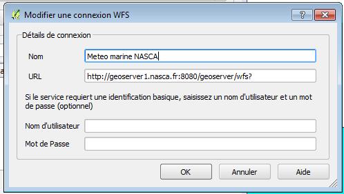 configuration de la connexion WFS dans qgis