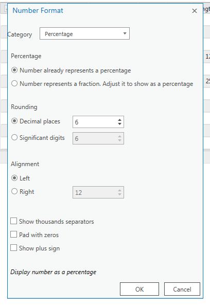 configuration du format percentage