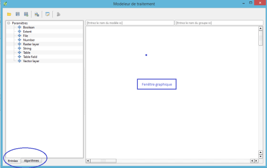 fenêtre du modeleur de traitement de QGis 2.8