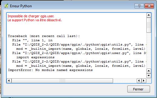 message d'erreur python lors de la création de la version portable de QGis 2.8