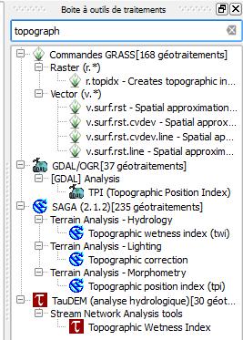 utilisation du champ de recherche de la boîte à outils qgis