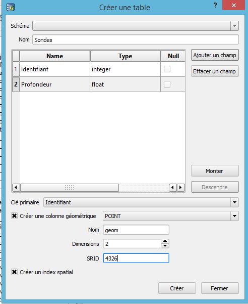 fenêtre créer une table du gestionnaire de base de données de qgis 2.8
