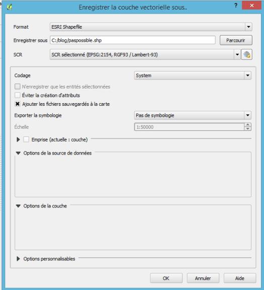enregistrement de la couche protégée dans un fichier shapefile