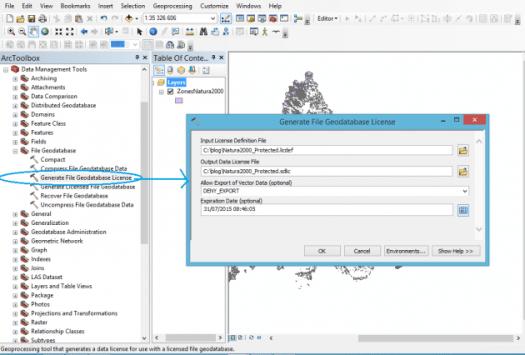 outil Générer une licence de géodatabase fichier