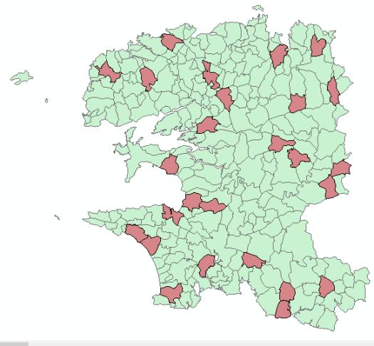 communes dont la superficie est comprise entre 2500 et 3000 ha