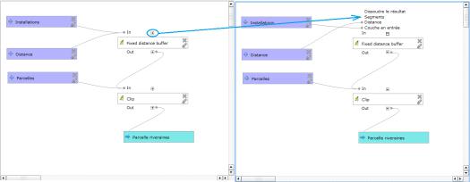 affichage des paramètres des algorithmes dans la fenêtre graphique du modeleur