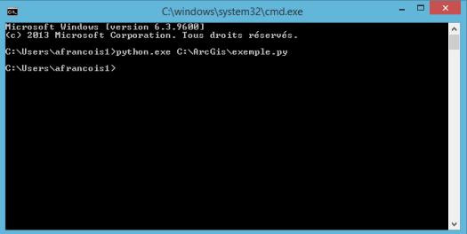 exécution d'un script python avec python.exe