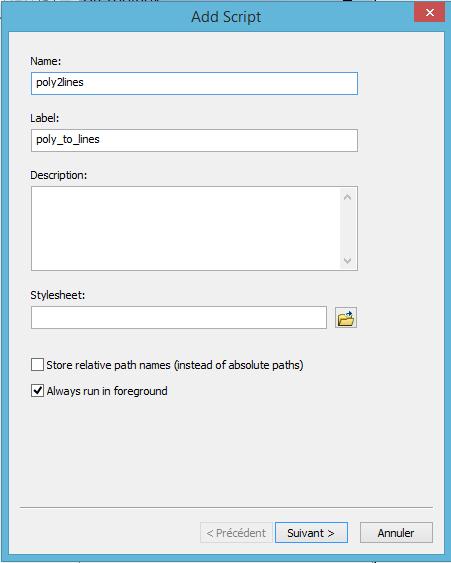 création d'un outil de la toolbox avec le script python