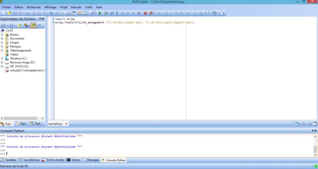 exécution d'un script à partir d'un IDE