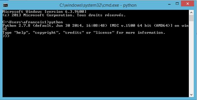 lancement de Python dans la fenêtre de commande
