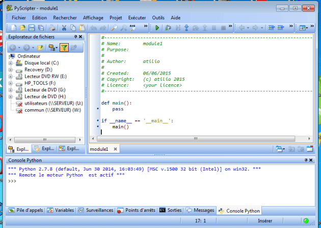 interface de pyscripter