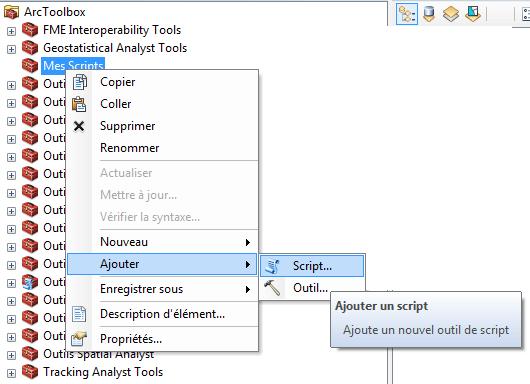 ajouter un script python dans une boîte à outils arcgis