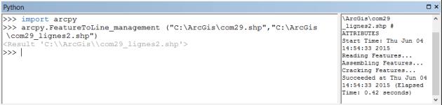 affichage de l'exécution de la commande dans la console python d'arcmap