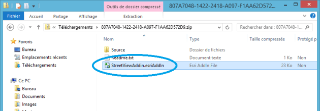 installation de l'addin street view dans arcgis