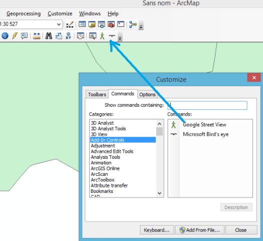 placement des contrôles dans une barre d'outils active