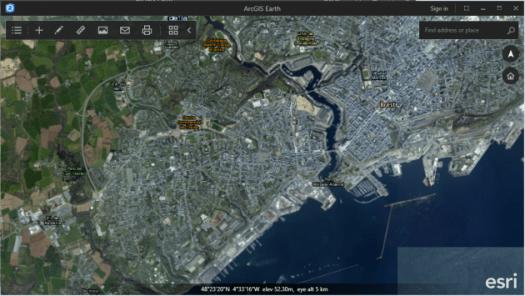 fond de carte imagerie avec etiquettes d'arcgis earth