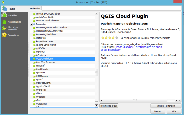 installation du plugin qgis cloud dans qgis
