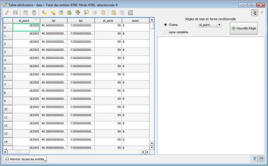 panneau de mise en forme conditionnelle de la table attributaire de qgis 2.12