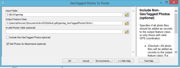 paramétrage de l'outil photos geotaggées vers points