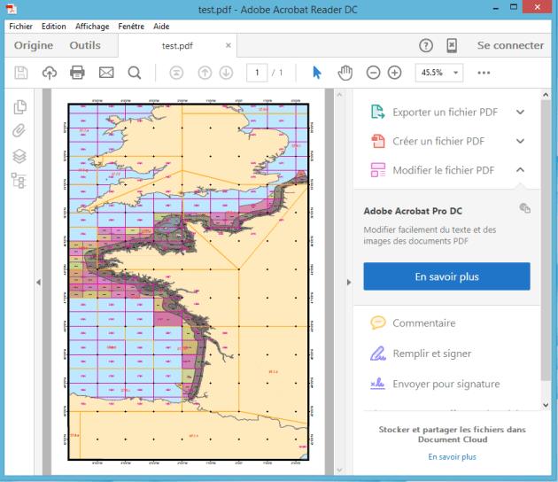 Ouverture du document PDF géographique dans Adobe Acrobat Reader DC