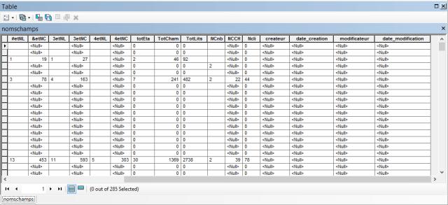 table avec les champs de suivi personnalisés