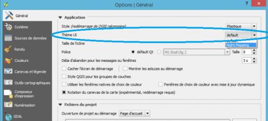 option de changement de l'interface de qgis 2.12