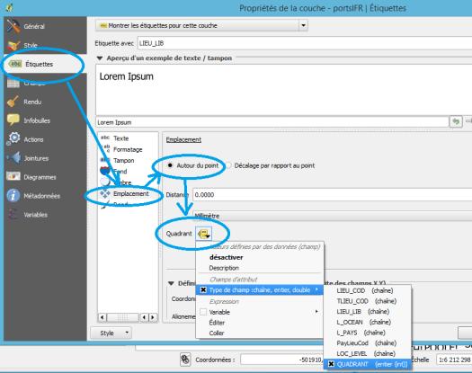configuration de l'option quaf=drant du placement des étiquettes de qgis 2.12