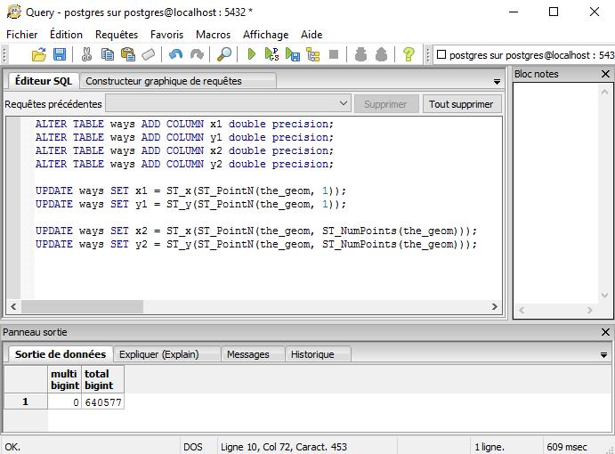 création et remplissage des colonnes x1,y1,x2 et y2