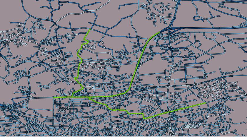 résultat dans QGis du calcul d'itinéraires multiples