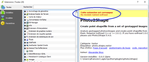 "message d'erreur de phorto2shape ""No module named exifread"""