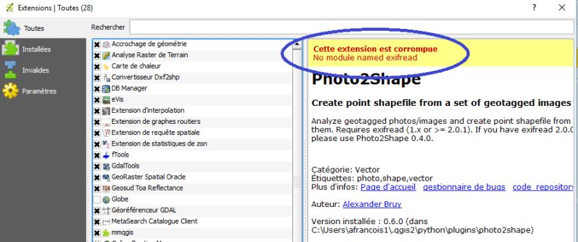 """message d'erreur de phorto2shape """"No module named exifread"""""""