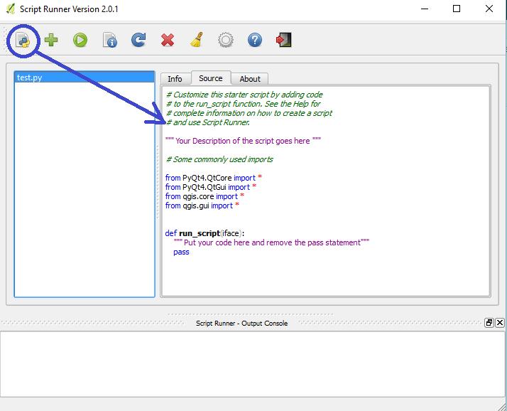 odèe de script créé par l'outil nouveau script de script runner de qgis