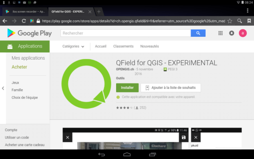 installation de qfield sur un dispositif mobile android
