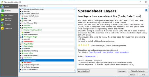 installation du plugin spreadsheet layer de qgis
